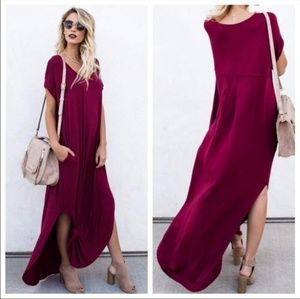 Dresses & Skirts - Womens maxi burgundy loose T shirt dress